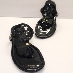 Tory Burch 'Miller' Flip Flop Black Patent Leather